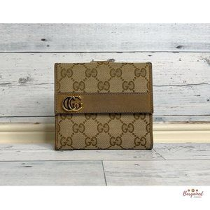 Authentic GUCCI GG Flap French Wallet 245760